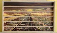 22SHO Vitrine Spur HO 90cm, 6 Stellebenen H0 genutet / / Foto Landschaft Rückwand zur Wahl